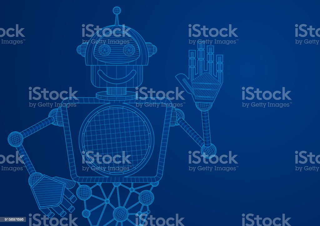 Technical plane of a robot seen from the front waving with the hand technical plane of a robot seen from the front waving with the hand royalty free malvernweather Images