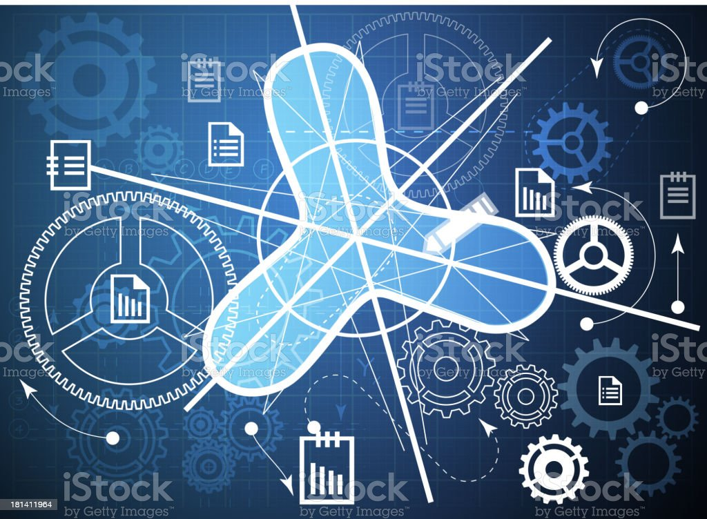Technical Processing of Reports royalty-free stock vector art