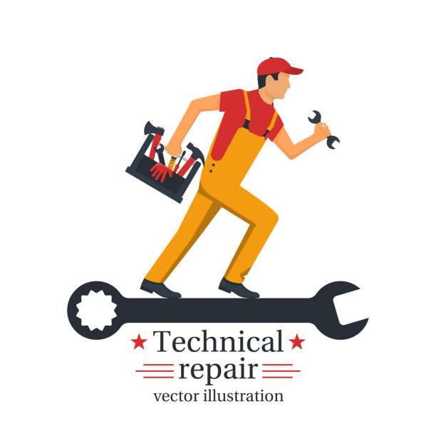 ilustrações, clipart, desenhos animados e ícones de técnicas de reparação vector - eletricista