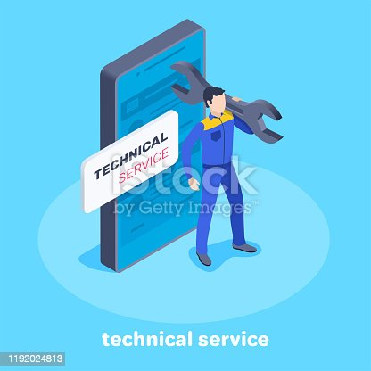 isometric vector image on a blue background, a man in work clothes with a wrench stands next to a smartphone, online technical service