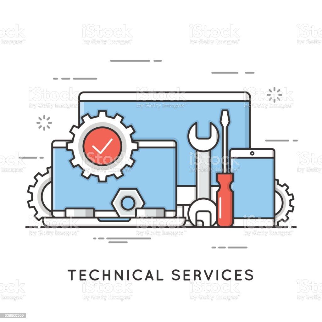 技術サービス、コンピューターの修理をサポートします。フラット ライン アート スタイルのコンセプトです。編集可能なストローク。 ベクターアートイラスト