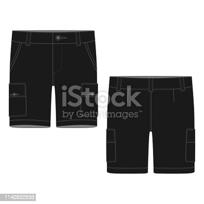 Technical sketch black cargo shorts pants design template. Cargo Pants. Fashion vector illustration on white background