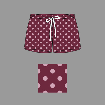 Technical sketch of shorts with print pattern. Front part.