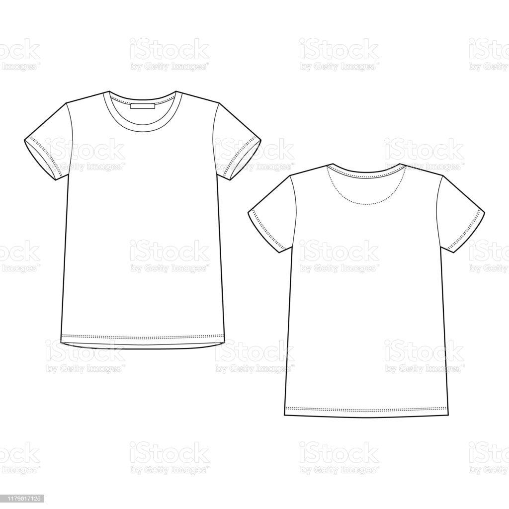 Technische Skizze Weißes Tshirt Tshirtdesignvorlage Vorder Und ...