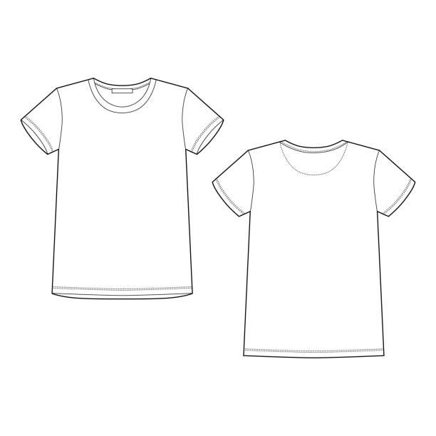 Technical sketch white t shirt. T-shirt design template. Front and back Technical sketch white t shirt. T-shirt design template. Front and back vector illustration. white t shirt stock illustrations