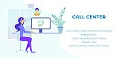 Cartoon Woman Manager, Advisor, Agent in Headset Having Clients Call. Comfortable Workplace with Laptop. Technical Support and Customer Service. Banner with Advertising Text. Vector Flat Illustration