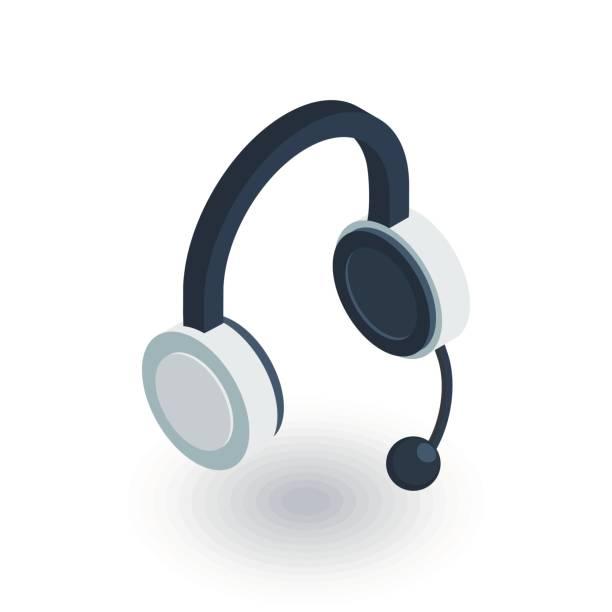 bildbanksillustrationer, clip art samt tecknat material och ikoner med teknisk support, hörlurar mikrofon, operatören isometrisk flat ikonen. 3d vektor - headset