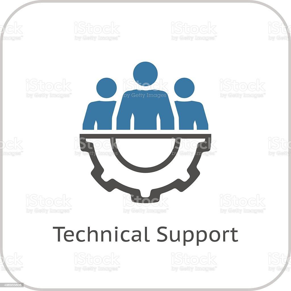 技術サポートのアイコンをクリックします。フラットデザインです。 ベクターアートイラスト
