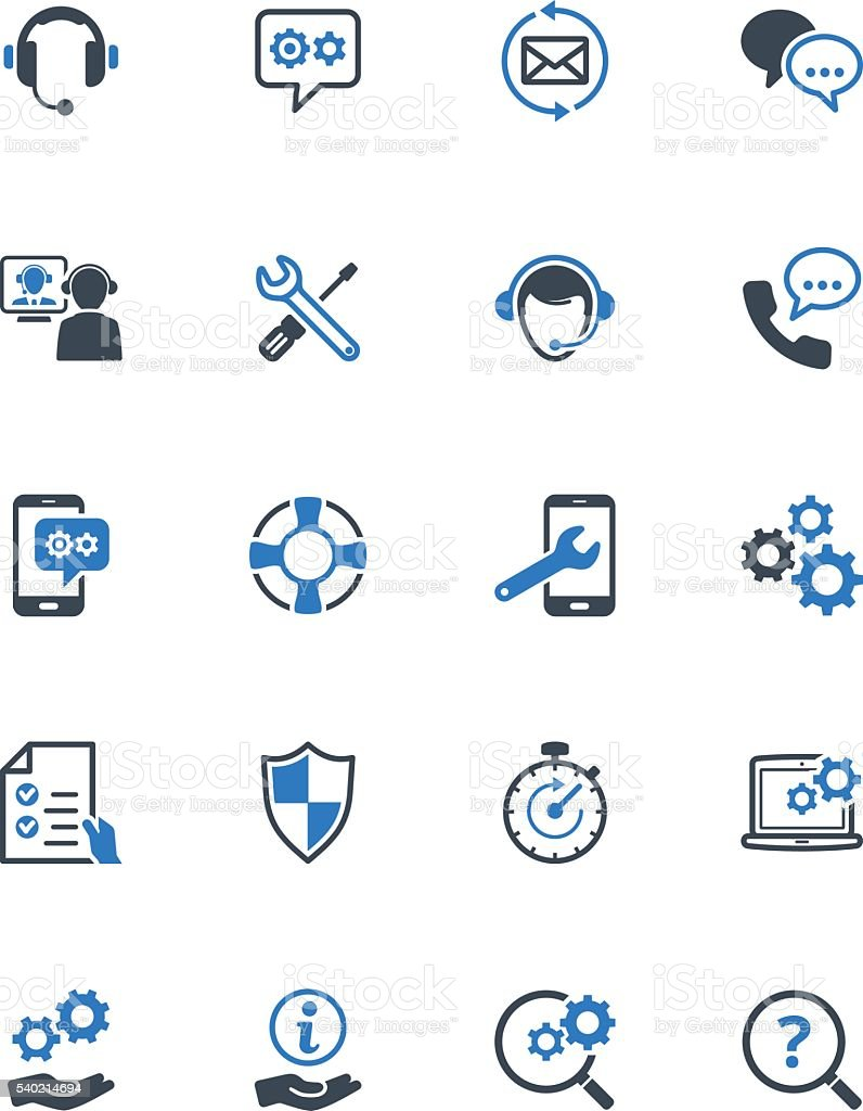 Technical Support Icons - Blue Series vector art illustration
