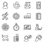 technical support icons set.