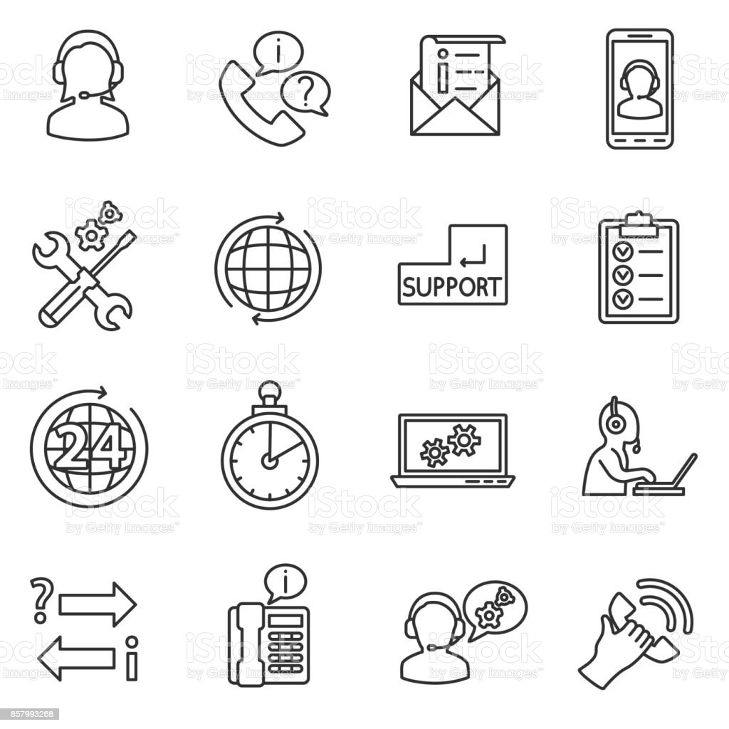 technical support icons set. vector art illustration