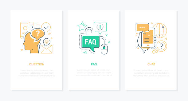 Technical support - line design style banners set vector art illustration