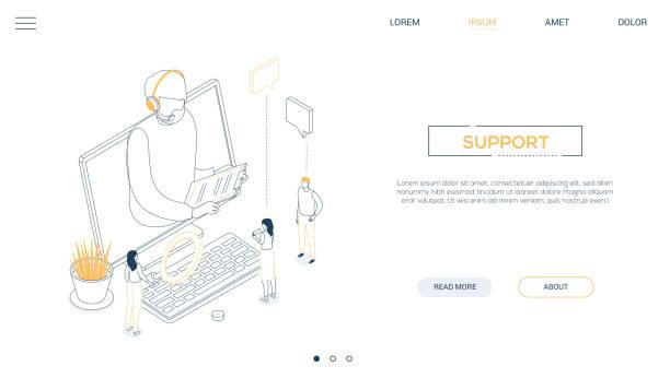 Technischer Support - Line Design Stil isometrischewebsbanner – Vektorgrafik