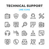 Technical support line icons set. Tech support, maintenance. Modern outline elements, graphic design concepts. Stroke, linear style. Simple symbols collection. Vector line icons