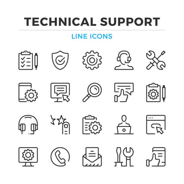 zestaw ikon linii pomocy technicznej. wsparcie techniczne, konserwacja. nowoczesne elementy konspektu, koncepcje graficzne. obrys, styl liniowy. kolekcja prostych symboli. ikony linii wektorowych - obsługa stock illustrations