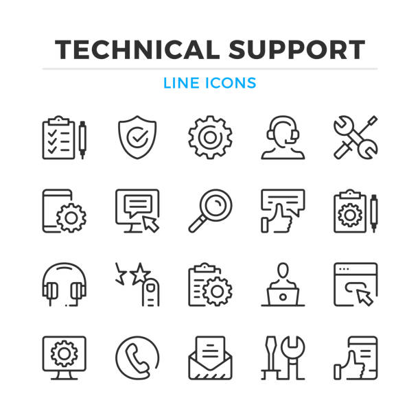 illustrazioni stock, clip art, cartoni animati e icone di tendenza di technical support line icons set. tech support, maintenance. modern outline elements, graphic design concepts. stroke, linear style. simple symbols collection. vector line icons - icona line