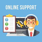 Technical support. Technical support manager, laptop and repair icon, clipboard and customer questions. Flat design for website, web banner, infographics, printed materials. Modern vector illustration
