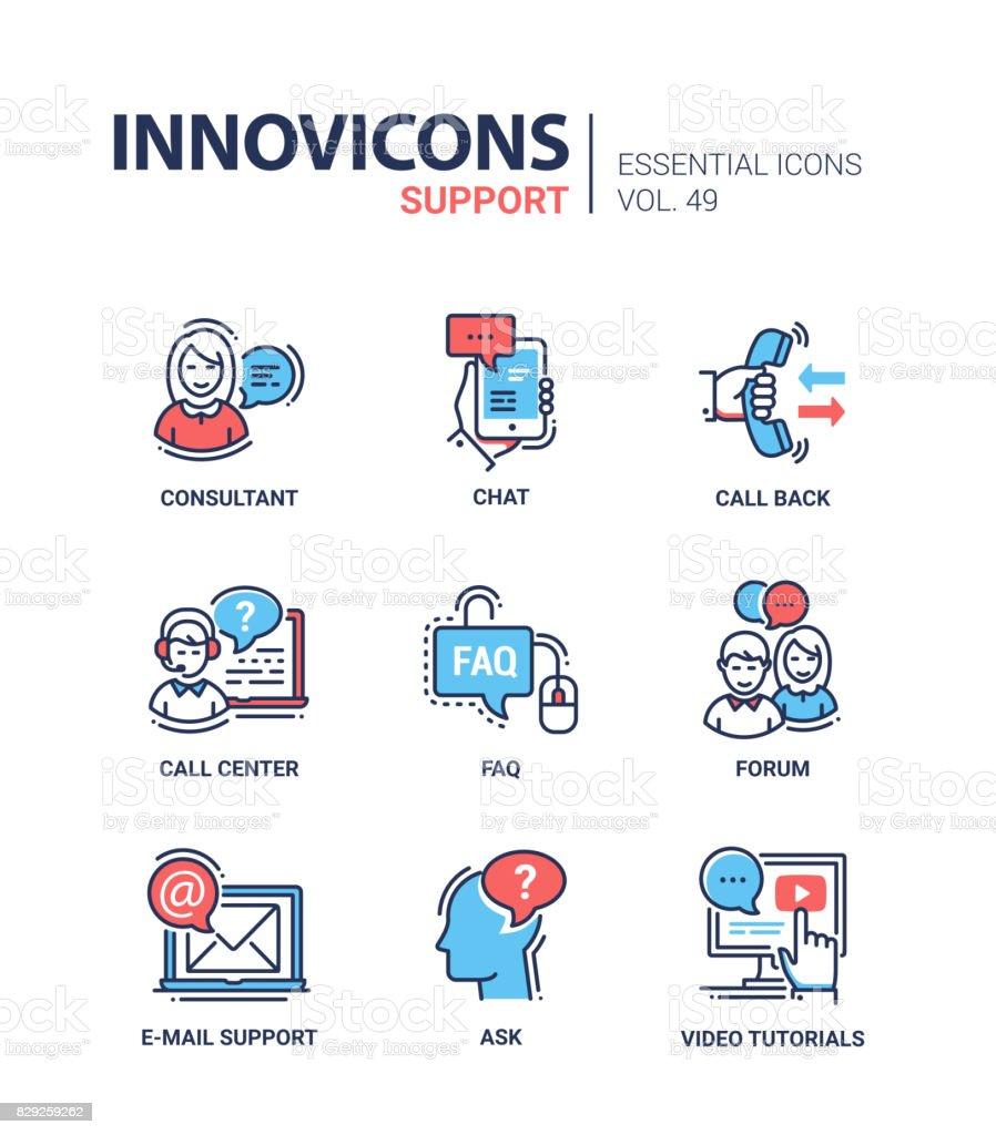 Support technique - modern vector ligne design icônes ensemble. - Illustration vectorielle