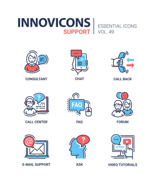 illustrazioni stock, clip art, cartoni animati e icone di tendenza di technical support - modern vector line design icons set. - icon set healthy