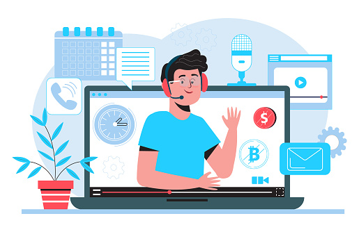 Technical support or call center concept vector. Hotline in company. 24 on 7 manager working. Online interview or remote class, distant tutorial, video blogger