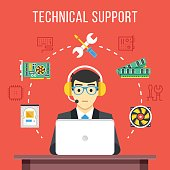 Technical support. Technical support engineer with headset at computer at work. Flat icons, thin line icons set, flat design graphic elements, concepts. Vector illustration