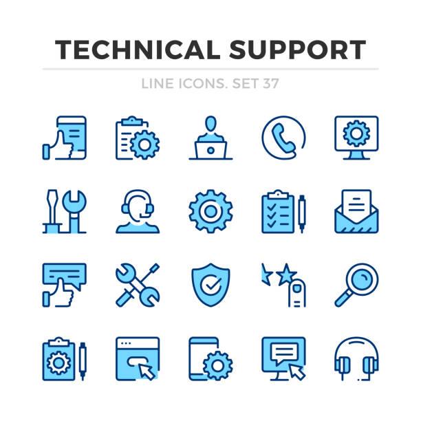 bildbanksillustrationer, clip art samt tecknat material och ikoner med teknisk support vektor linje ikoner som. tunn linje design. skissera grafiska element, enkla linje symboler. ikoner för teknisk support - it support