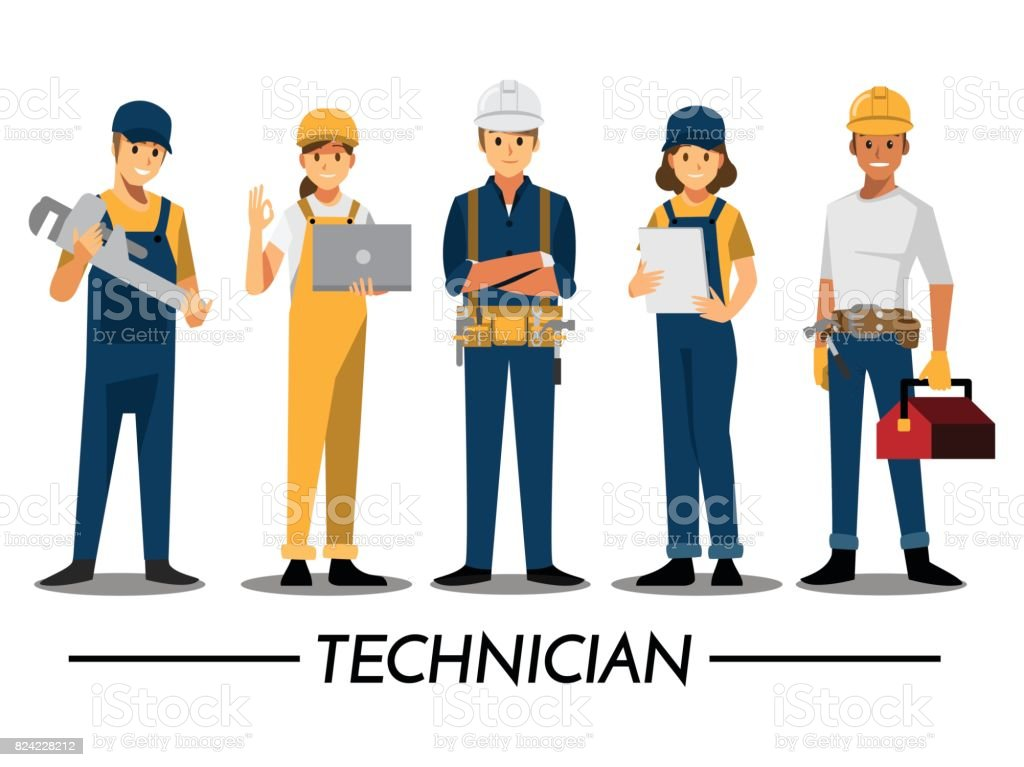 Technician and builders and engineers and mechanics People teamwork ,Vector illustration cartoon character. vector art illustration