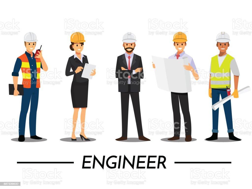 Technicien et constructeurs et ingénieurs et mécaniciens personnes travail d'équipe, personnage de bande dessinée illustration vectorielle. - Illustration vectorielle