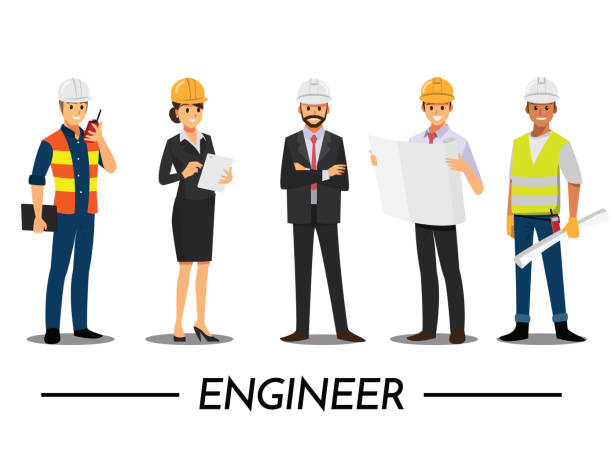 Bauherren und Ingenieure, Techniker und Mechaniker Menschen Teamwork, Vektor-Illustration-Cartoon-Figur. – Vektorgrafik