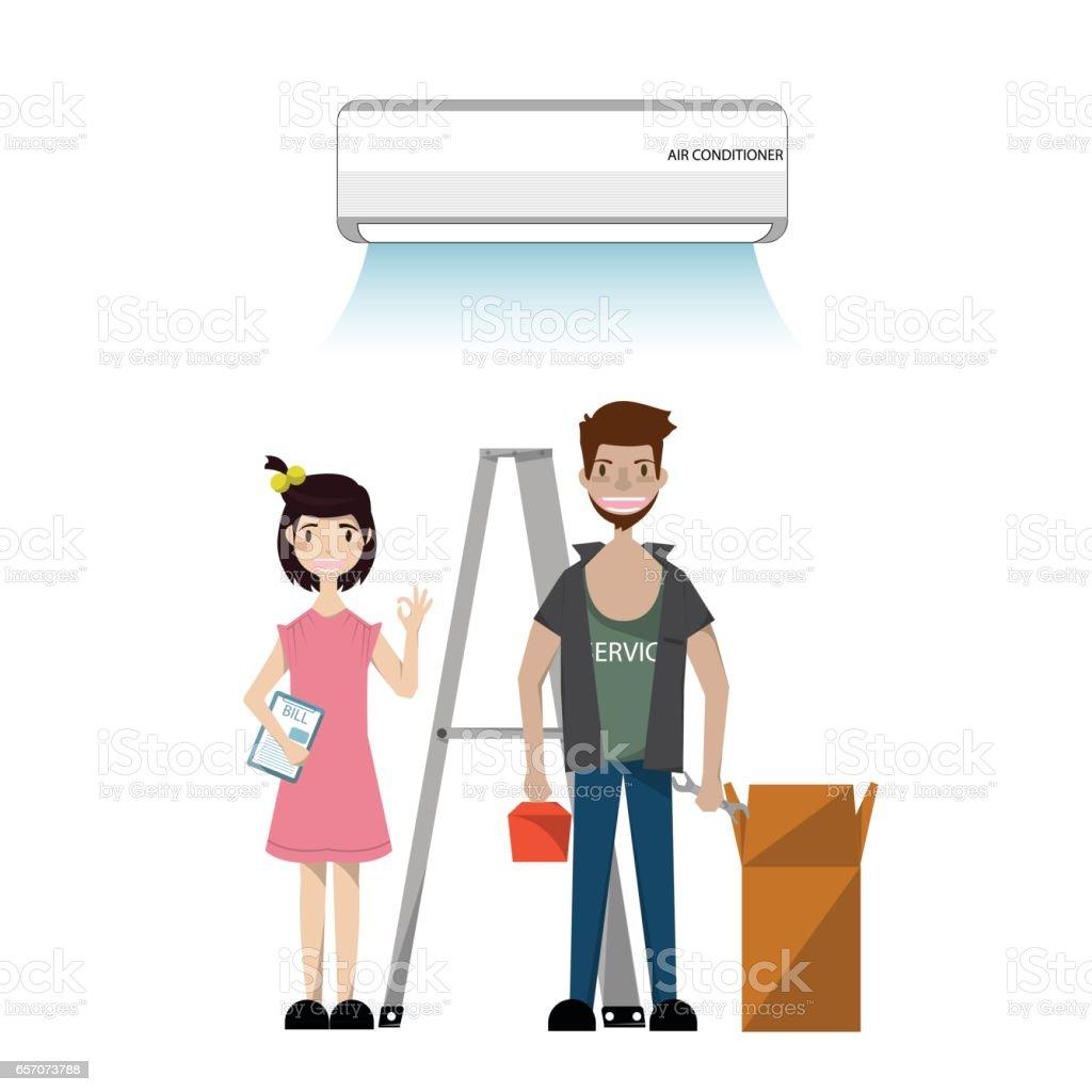 Technician Installing electronics. Air conditioner unit repair and installing. Vector/Illustration vector art illustration