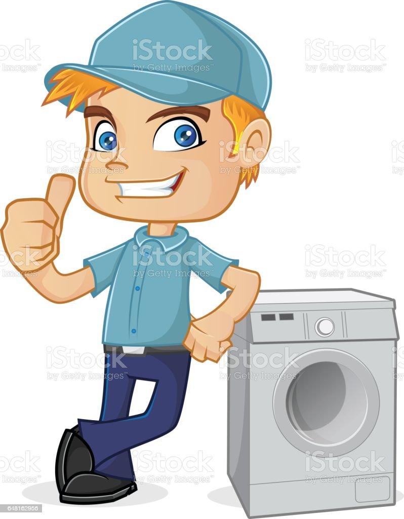 HLK-Techniker stützte sich auf Waschmaschine – Vektorgrafik