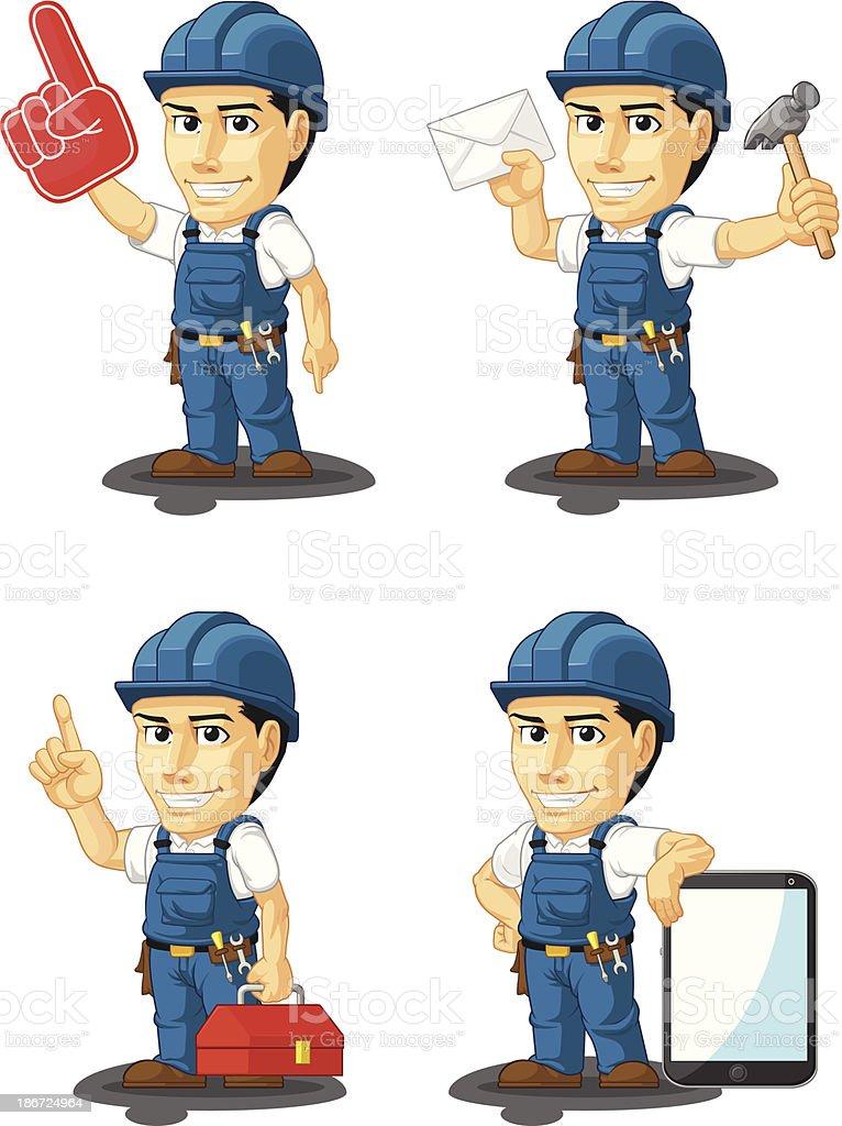 Technician or Repairman Customizable Mascot 15 royalty-free stock vector art
