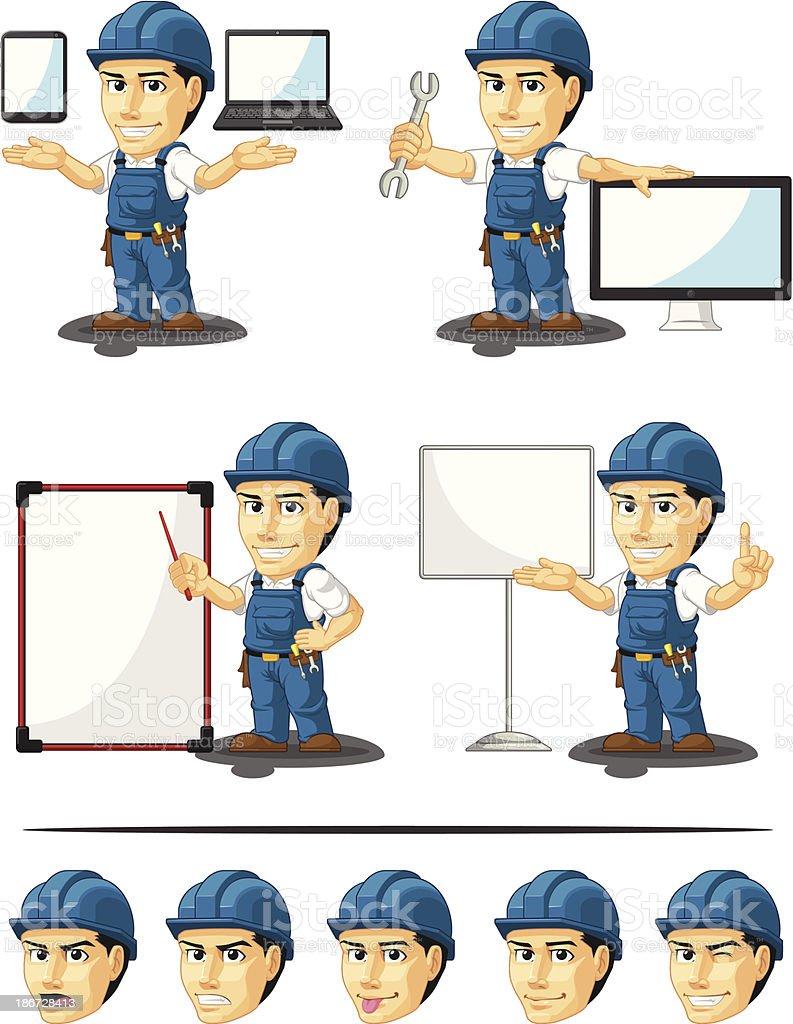 Technician or Repairman Customizable Mascot 16 royalty-free stock vector art