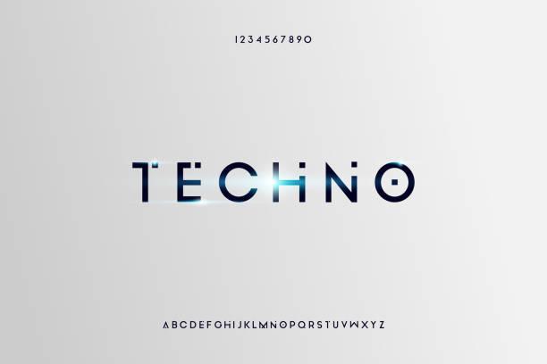ilustraciones, imágenes clip art, dibujos animados e iconos de stock de techno, un moderno diseño de fuente de alfabeto futurista minimalista - font