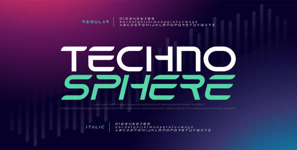테크노 디지털 현대 알파벳 글꼴입니다. 타이포그래피 전자 기술 음악 미래 창조적 인 글꼴 일반 기울임꼴 디자인 개념. 벡터 일러스트 - future stock illustrations