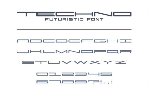 stockillustraties, clipart, cartoons en iconen met techno futuristische groot lettertype. geometrische, sport, toekomst, digitale technologie alfabet. letters en cijfers voor militaire, tech industrie, spel, business logo ontwerp. - breed