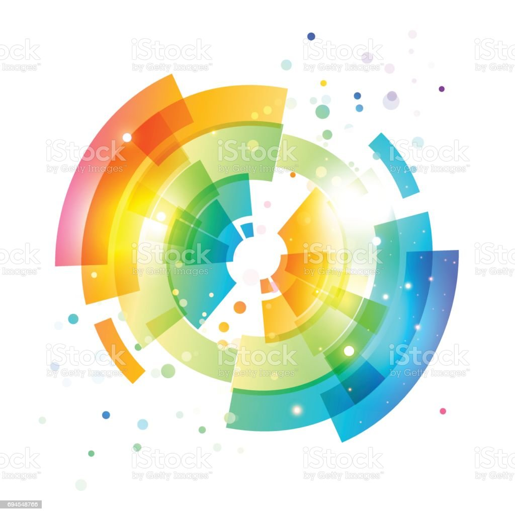 Techno geometric vector circle on white vector art illustration
