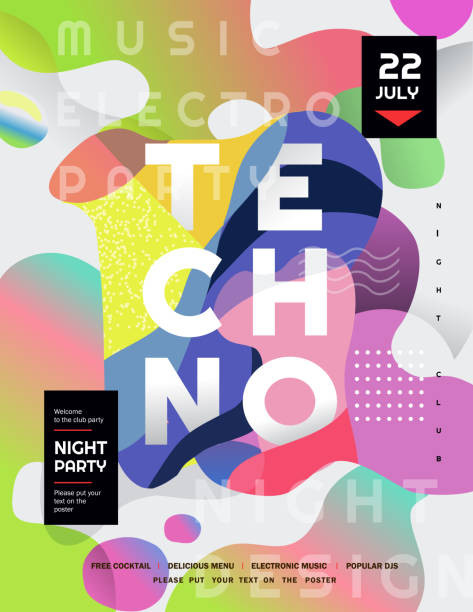 techno party. vector gradient abstract background for poster, flyer or cover. psychedelic illustration for clubs, dj, electronic techno music, festival, etc - jungle stock illustrations
