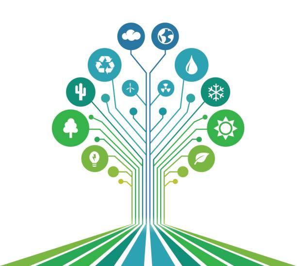 technologischen linien - grün - umweltkonzept stock-grafiken, -clipart, -cartoons und -symbole