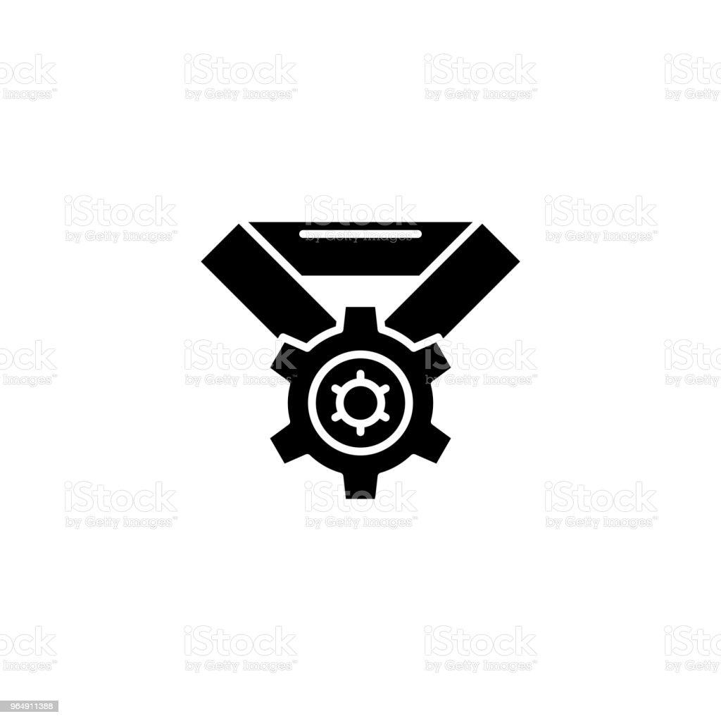 技術進步黑圖示概念。技術進步平面向量符號, 符號, 插圖。 - 免版稅一組物體圖庫向量圖形