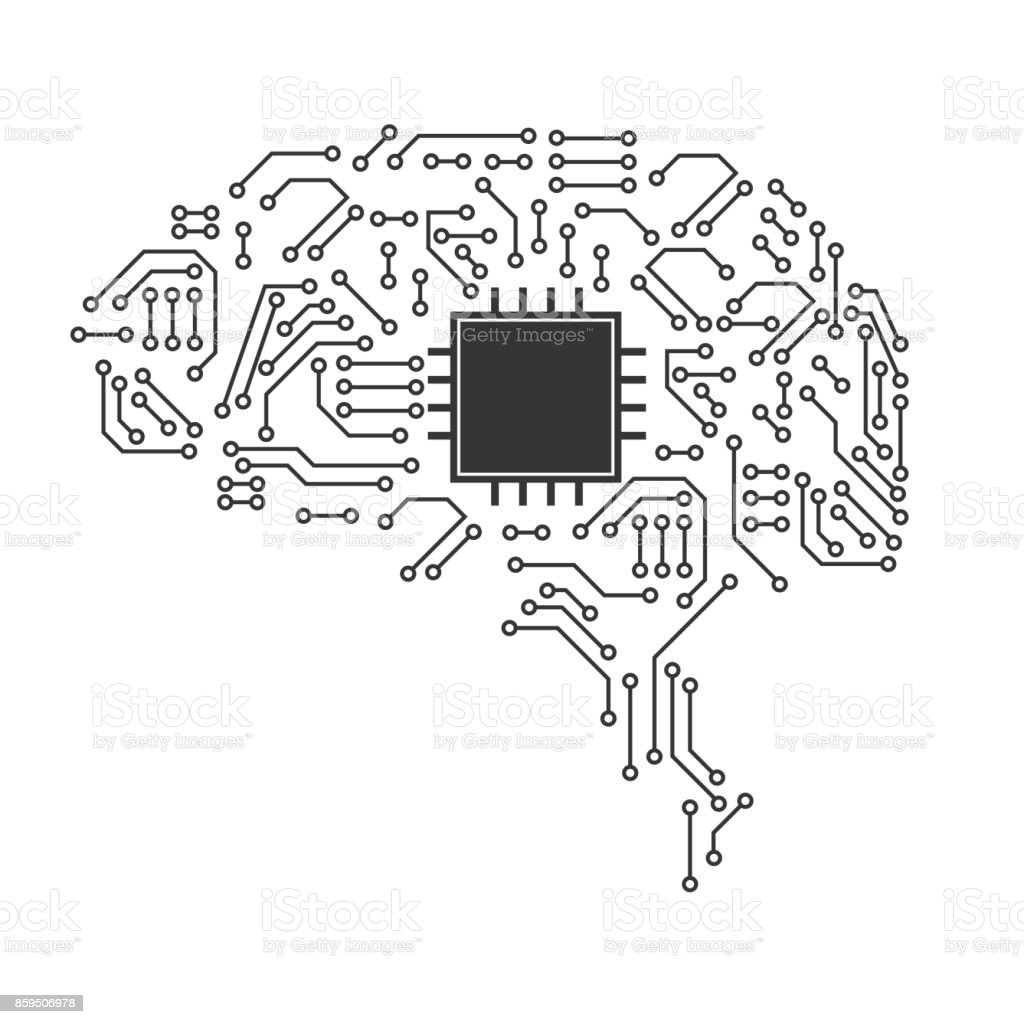 Technological brain. Abstract circuit board. Vector background vector art illustration