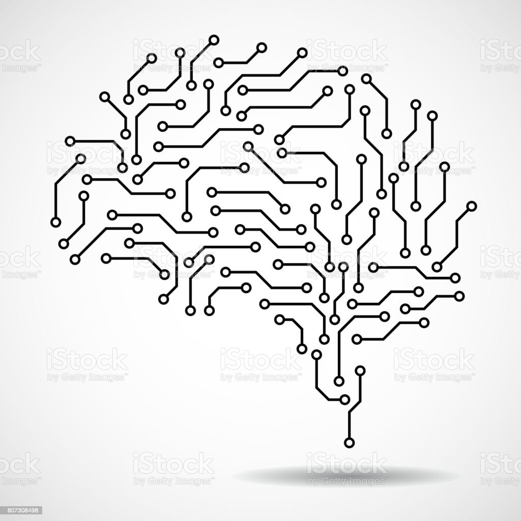 Technological brain. Circuit board vector art illustration