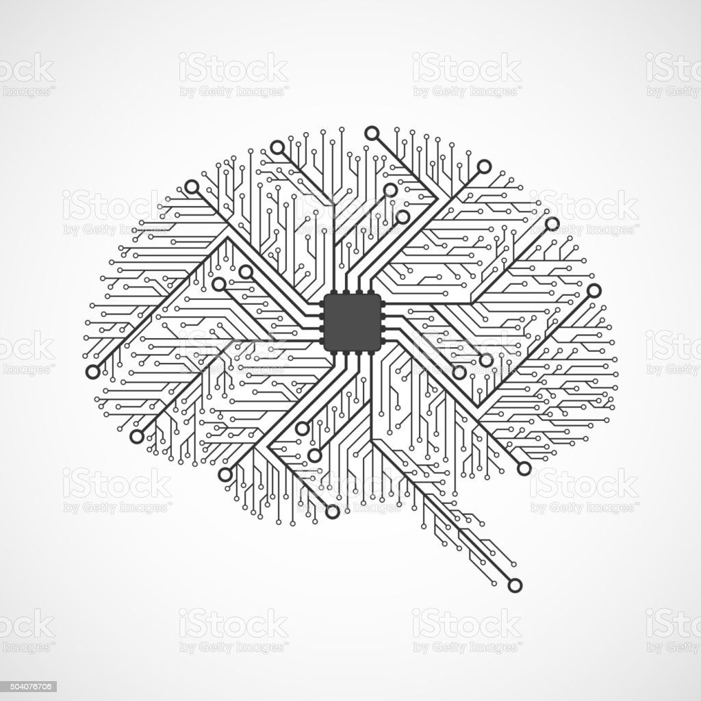 Technological brains. Circuit board. Vector background. vector art illustration