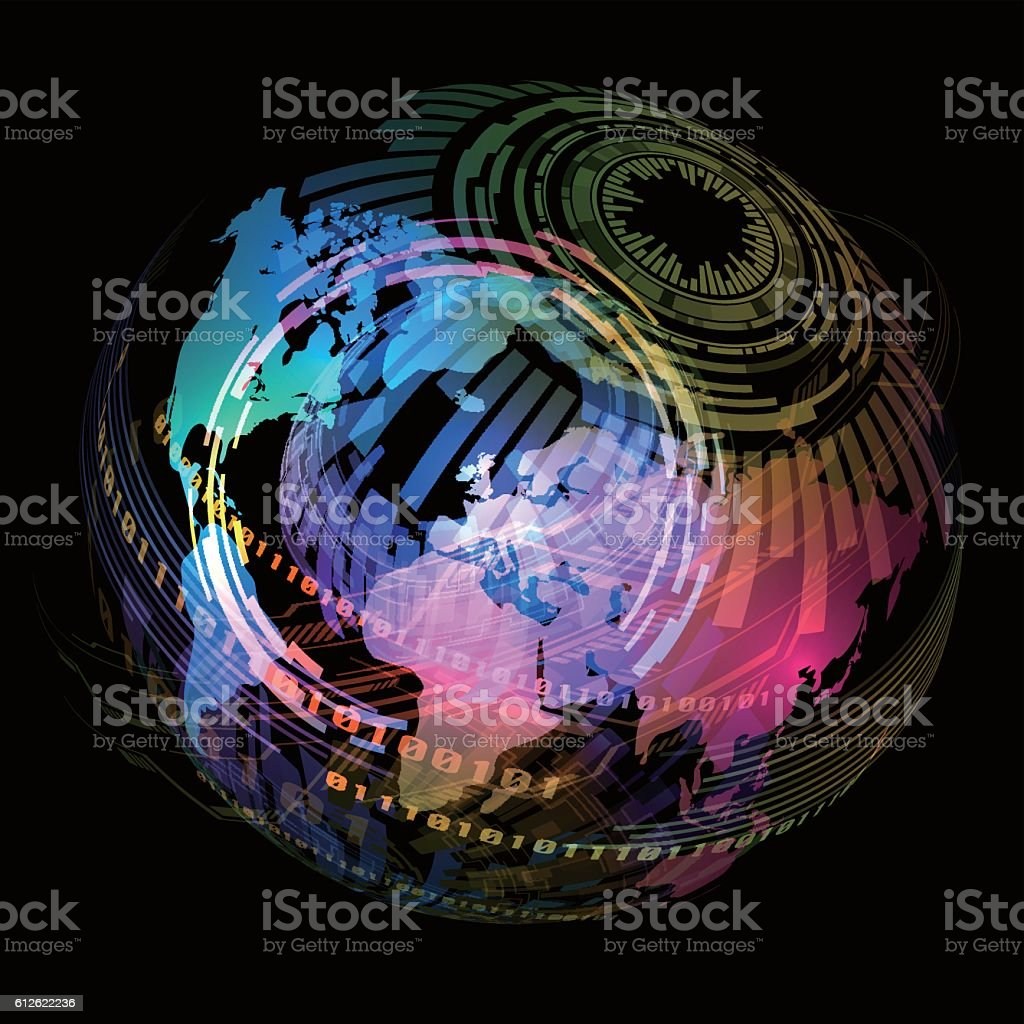 technological concept and world map, abstract image visual vector art illustration