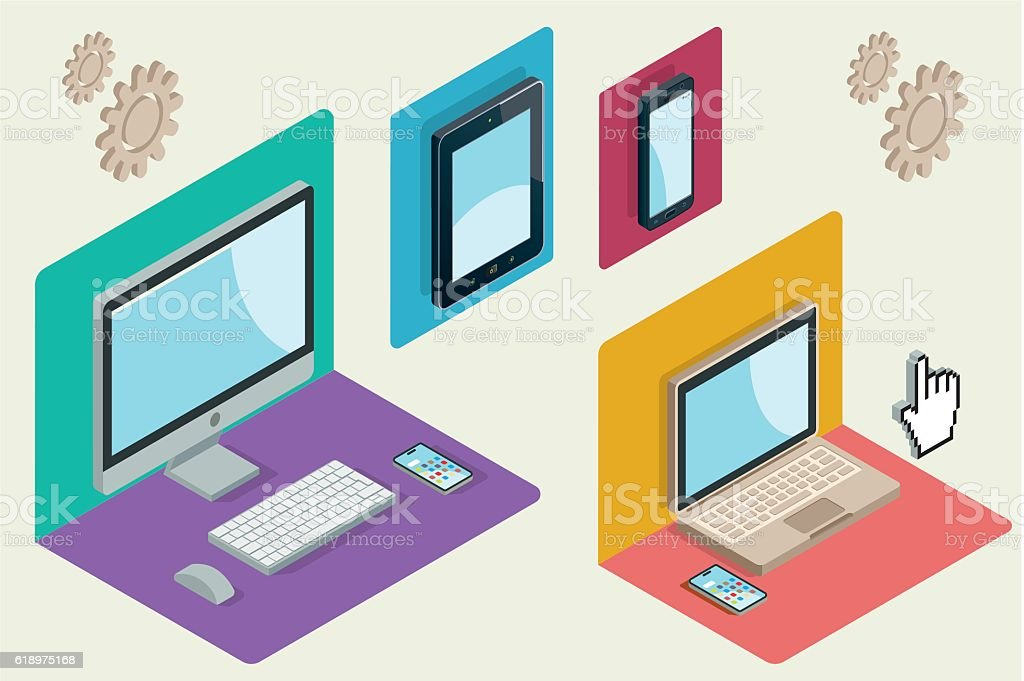 Technological Devices in Isometric Perspective vector art illustration