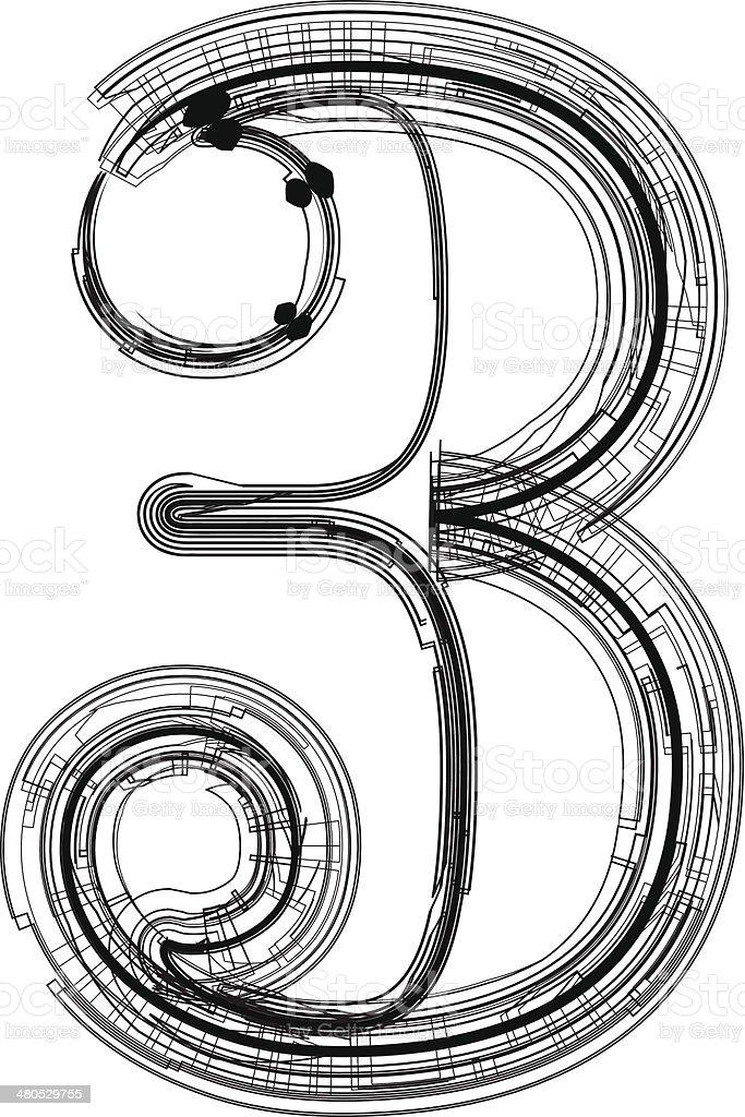 Technological Font Number 3 Stok Vektör Sanatı 3 Rakamınin Daha