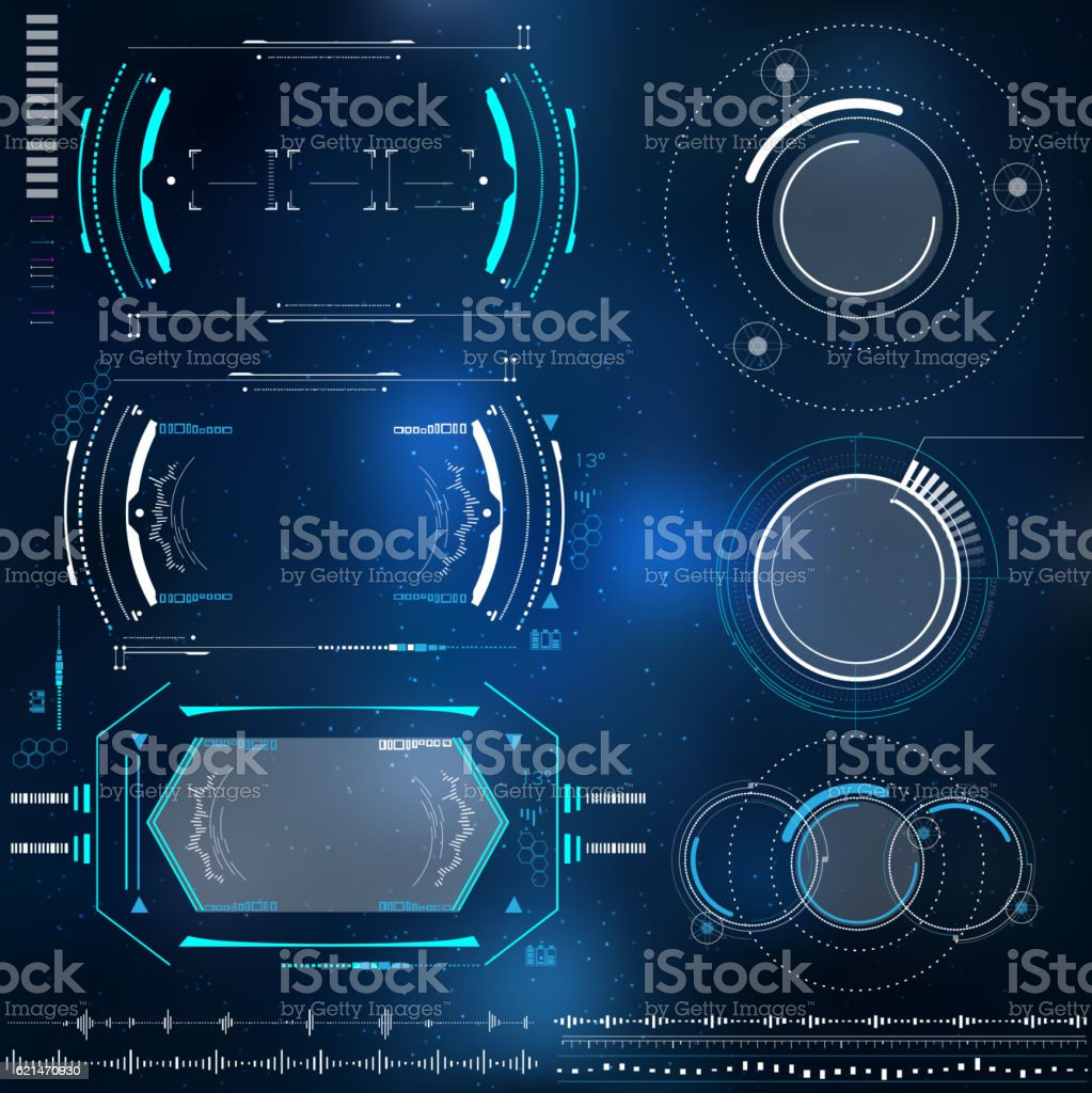 technological HUD elements, futuristic interface virtual reality vector art illustration