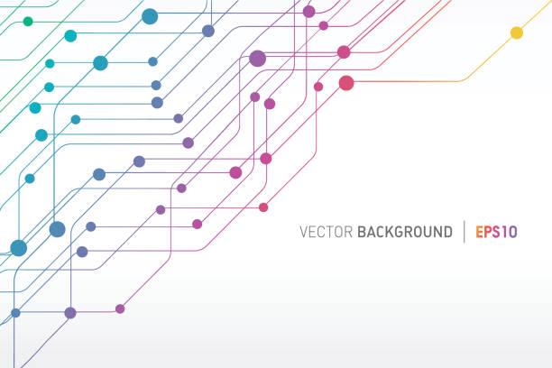technische linien connections hintergrund  - farbchips stock-grafiken, -clipart, -cartoons und -symbole