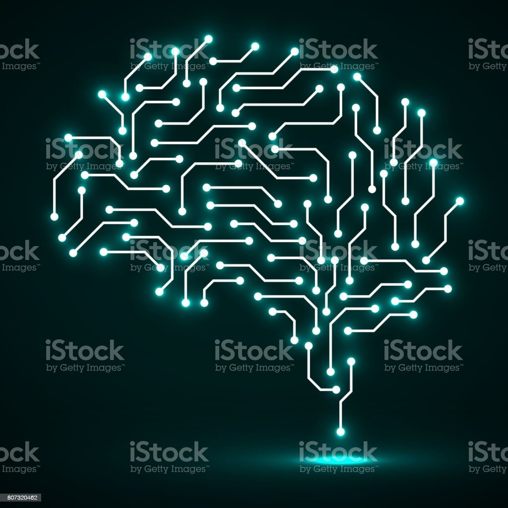 Technological neon brain. Circuit board vector art illustration