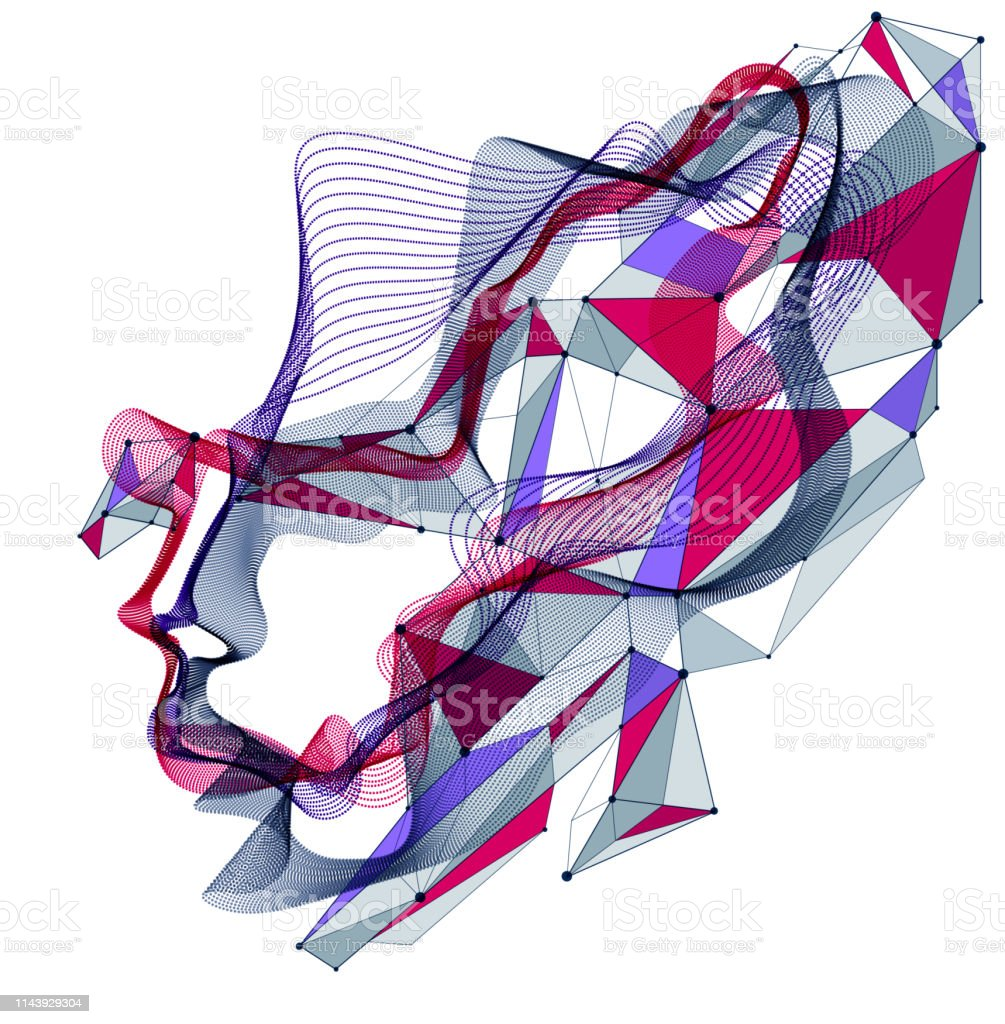 Technological time Spirit vector visualization in shape of human head...